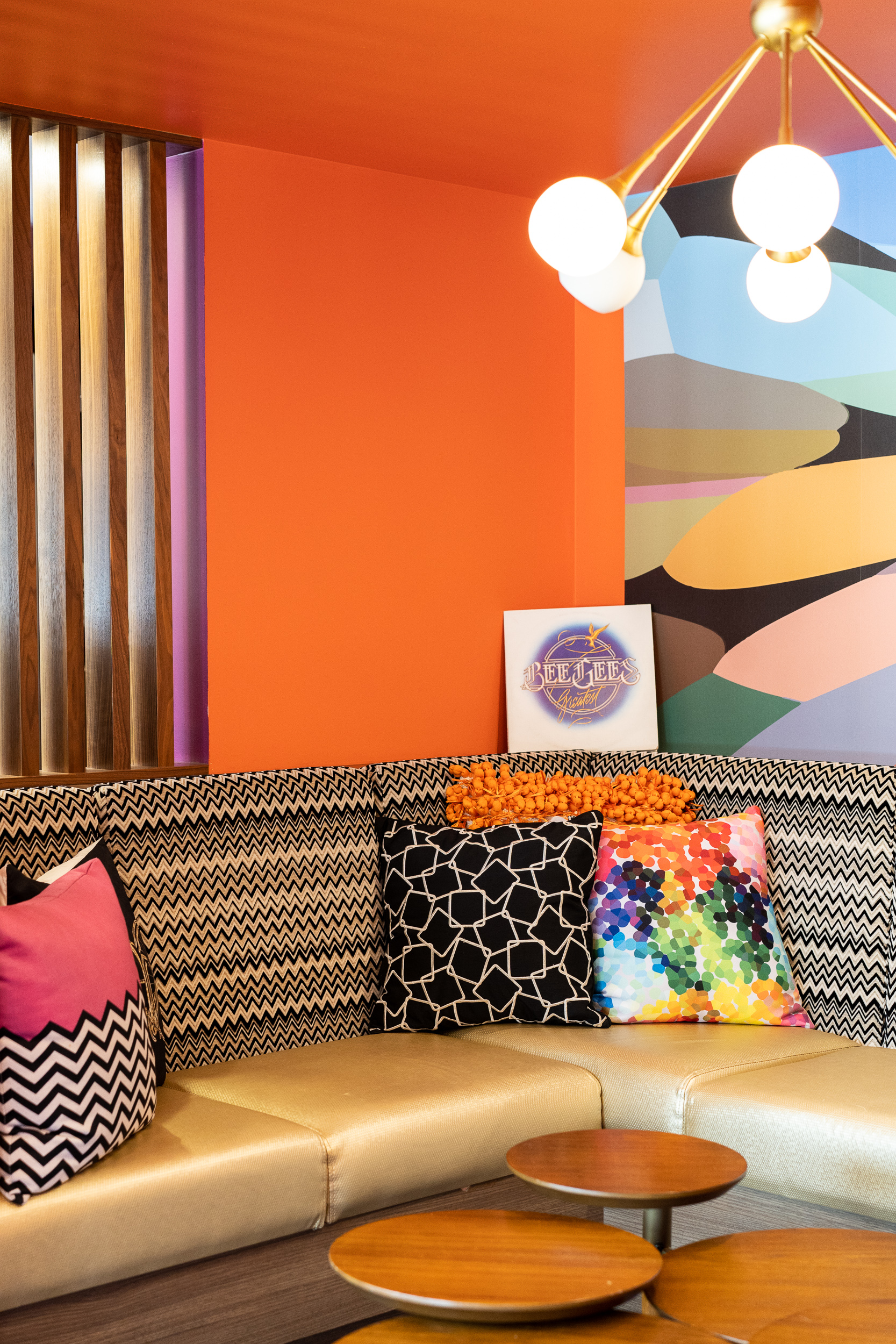 Retro lounge in the lobby.