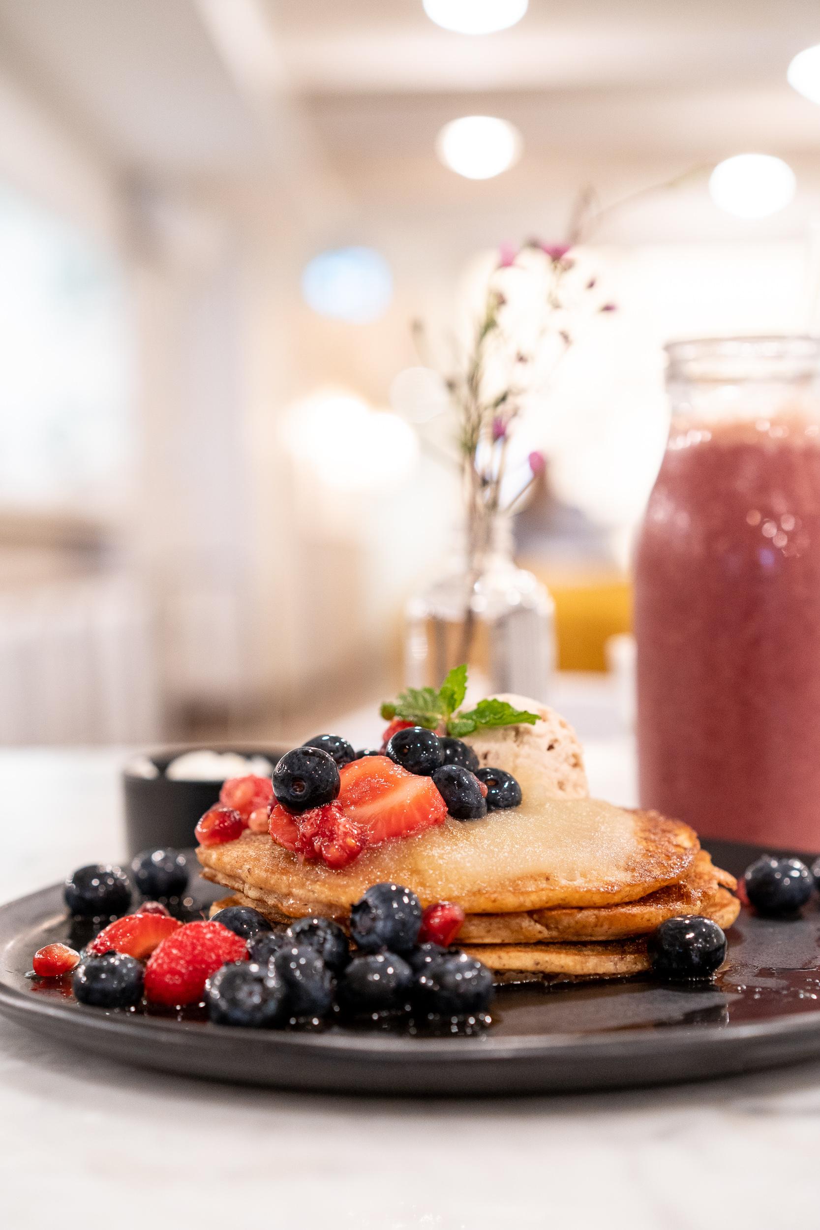 Apple Pancakes with fresh fruit.