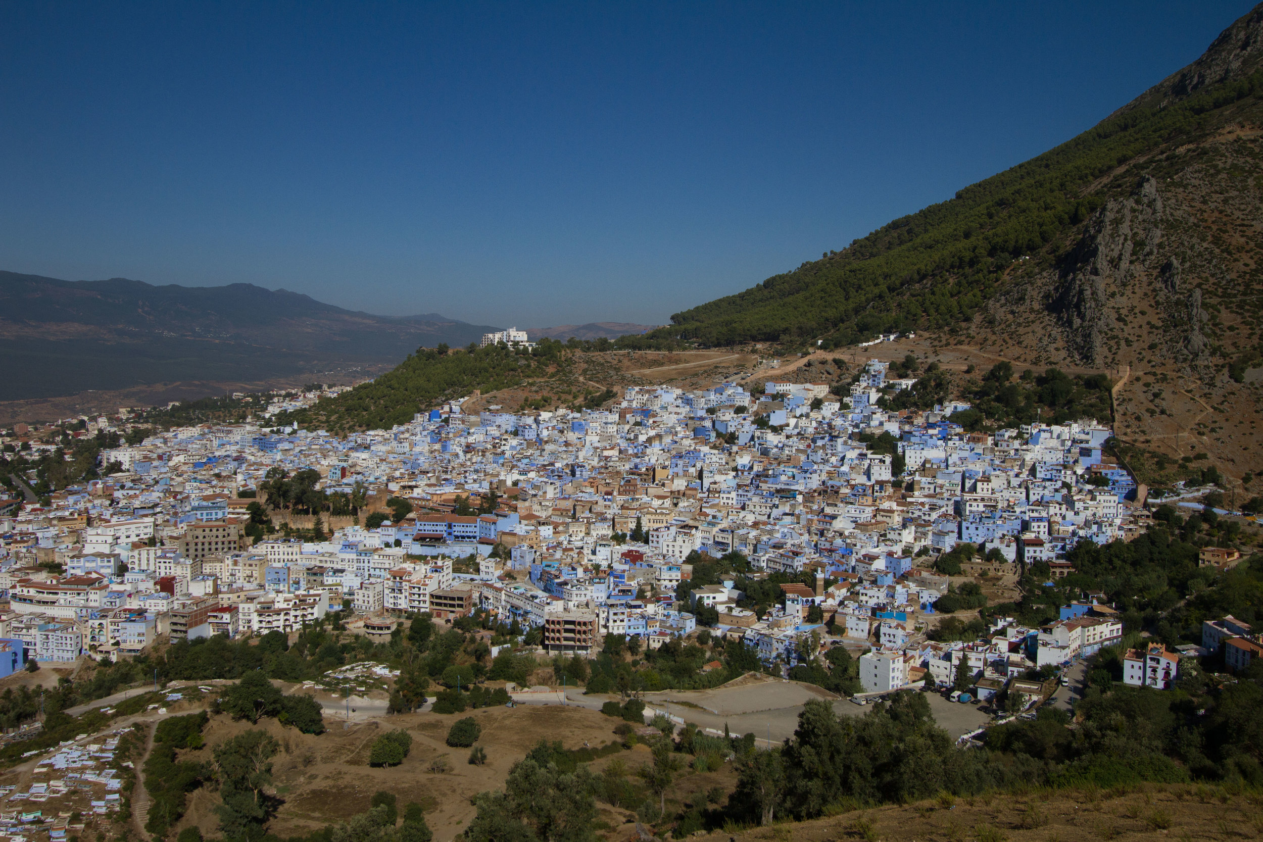 View of Chefchaouen at the nearby mountain top