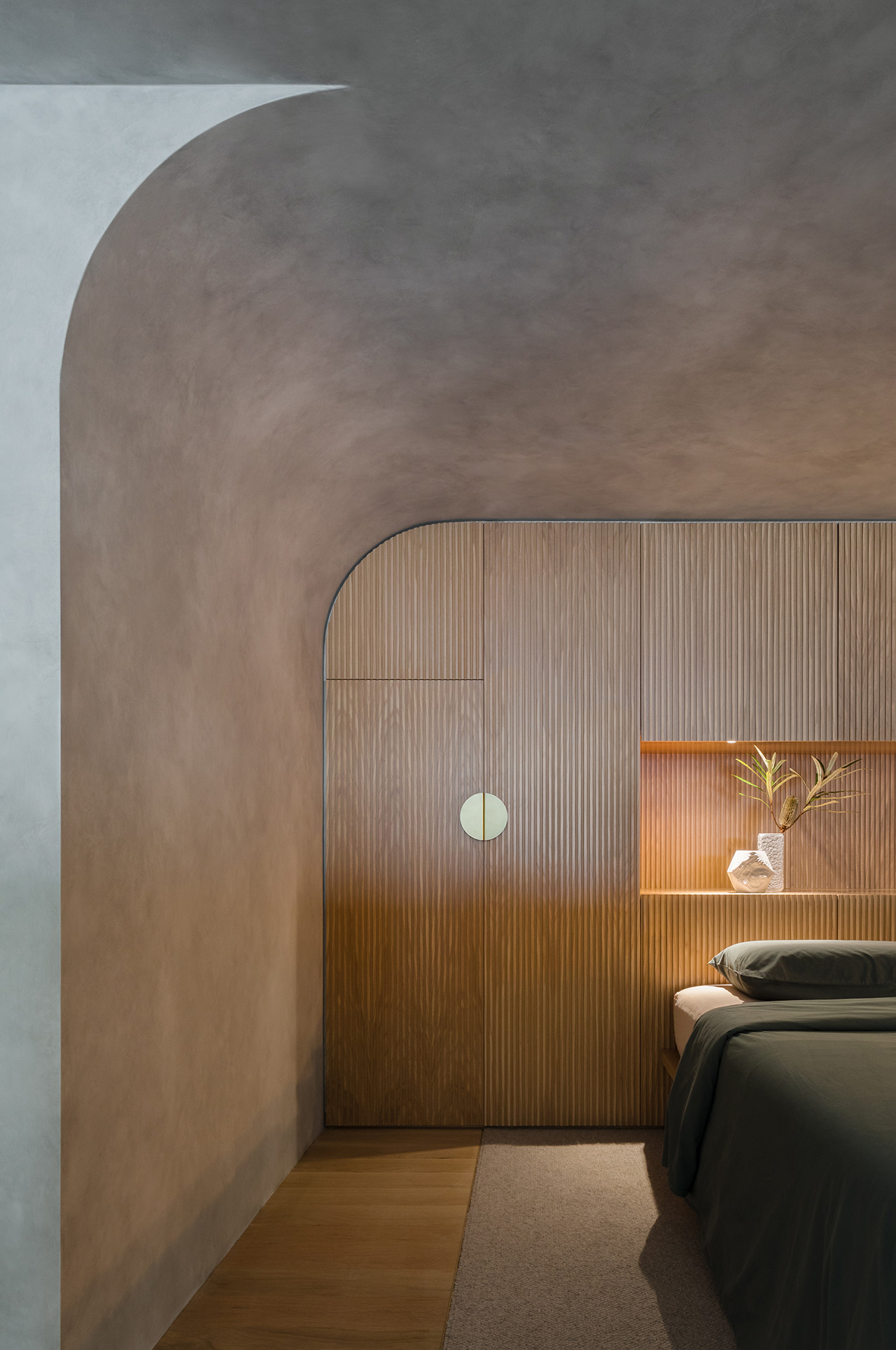 Gently curving lines soften the overall tone of the home.