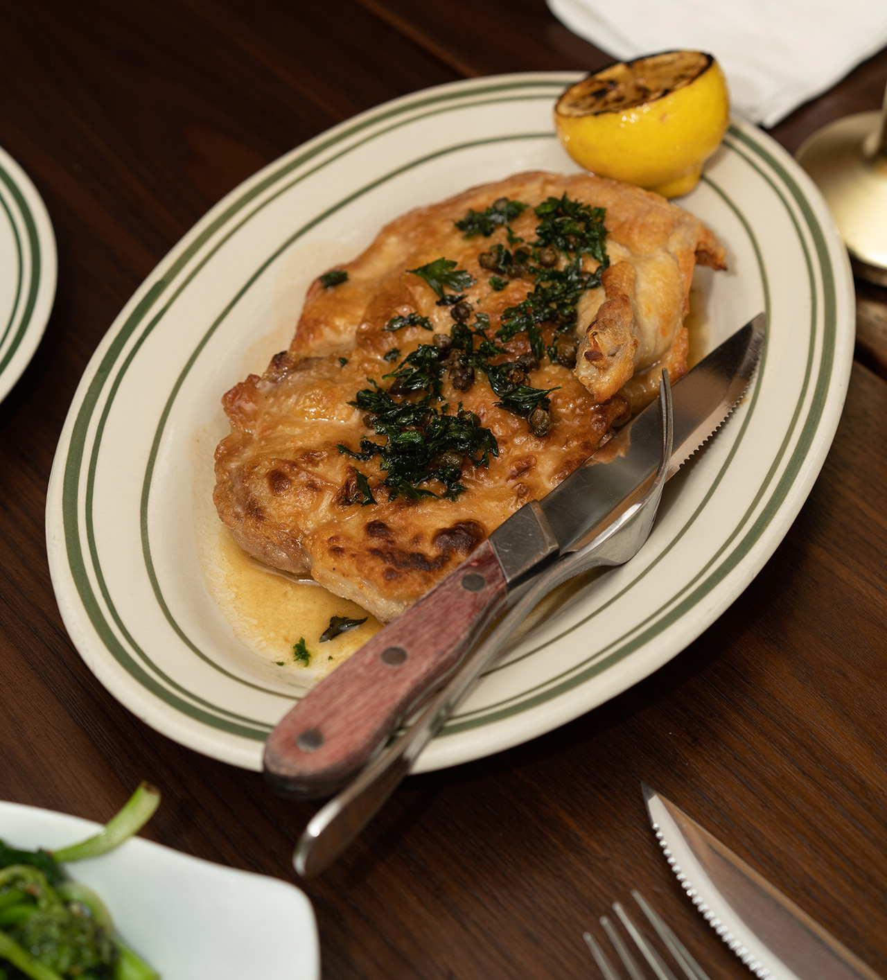 Half portion of the Chicken Piccata.