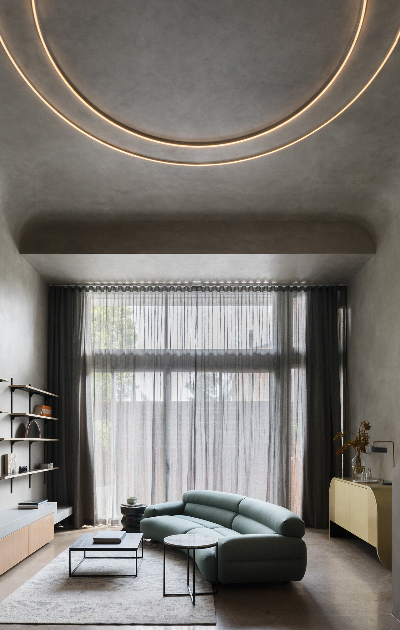 Full-height windows draw in natural light