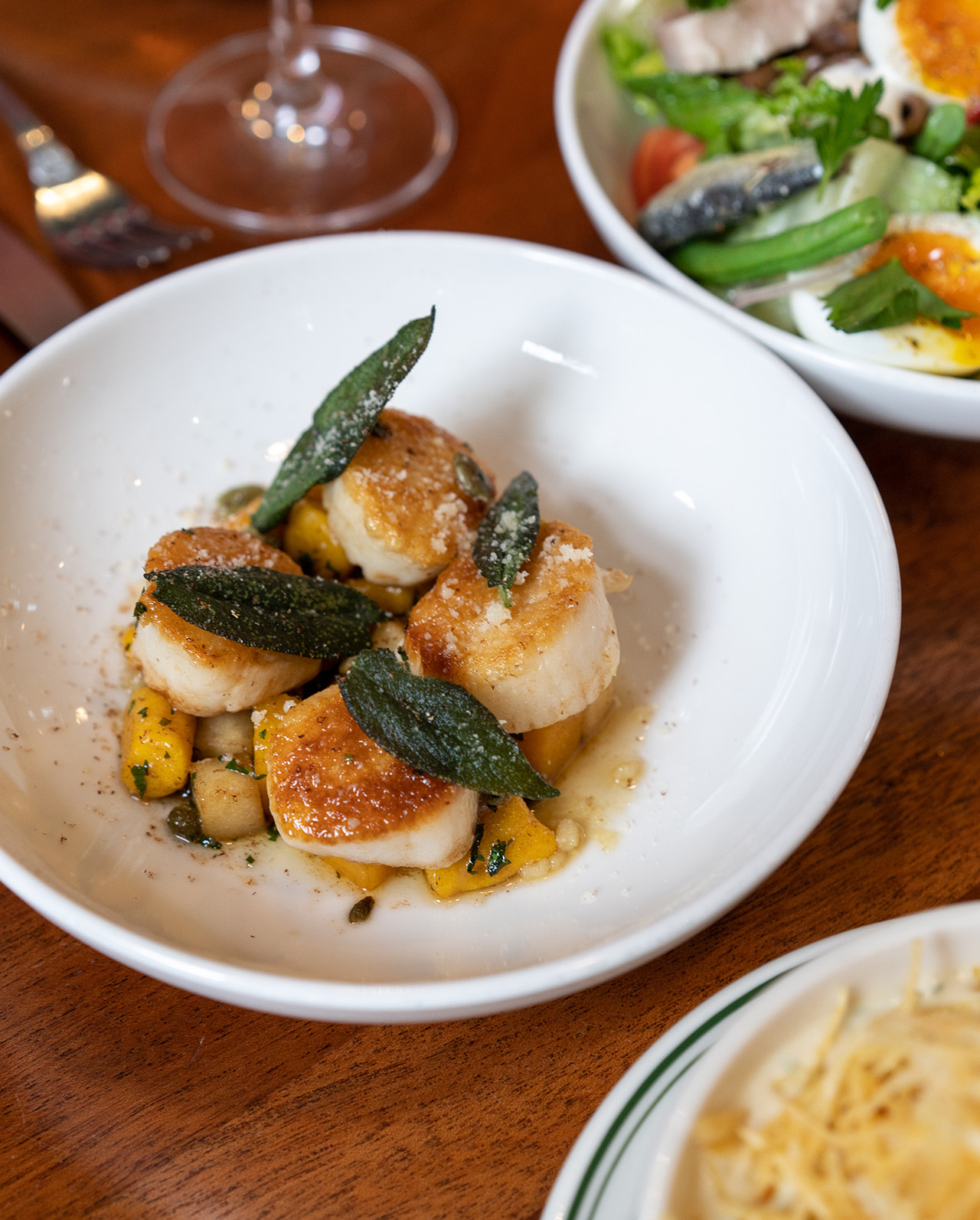 Roasted Scallops: squash gnocchi, apple, sage browned butter.