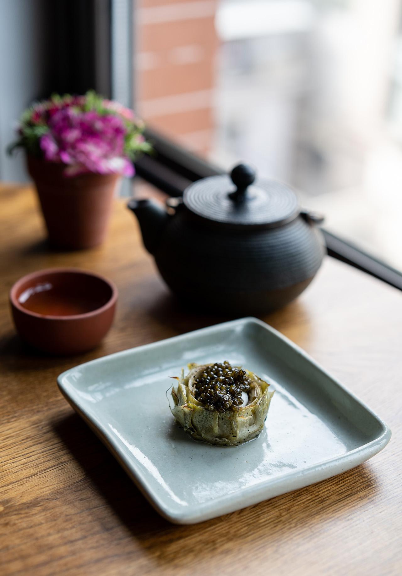 Caviar wrapped in artichoke.