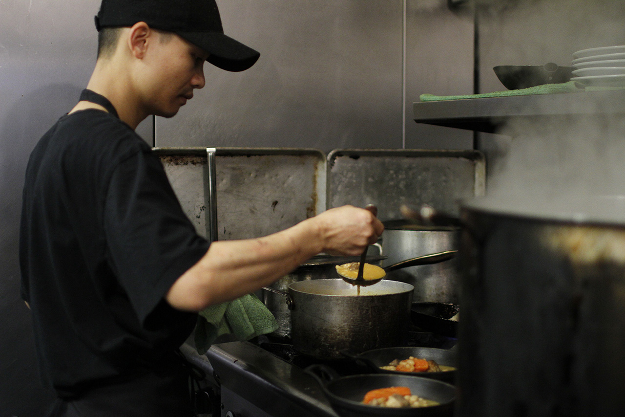 Owner Tai Nguyen in the kitchen.