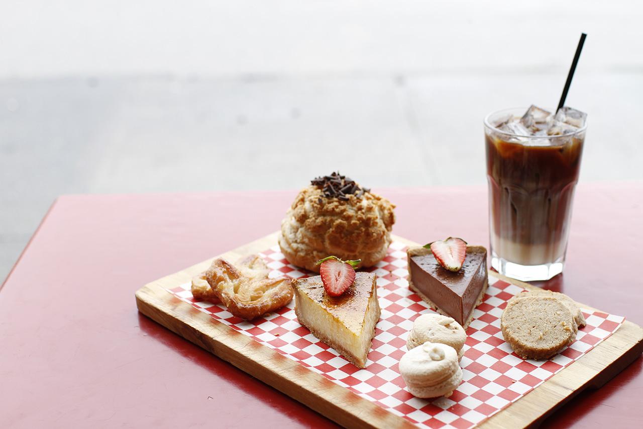 Assorted dessert sampler plate.