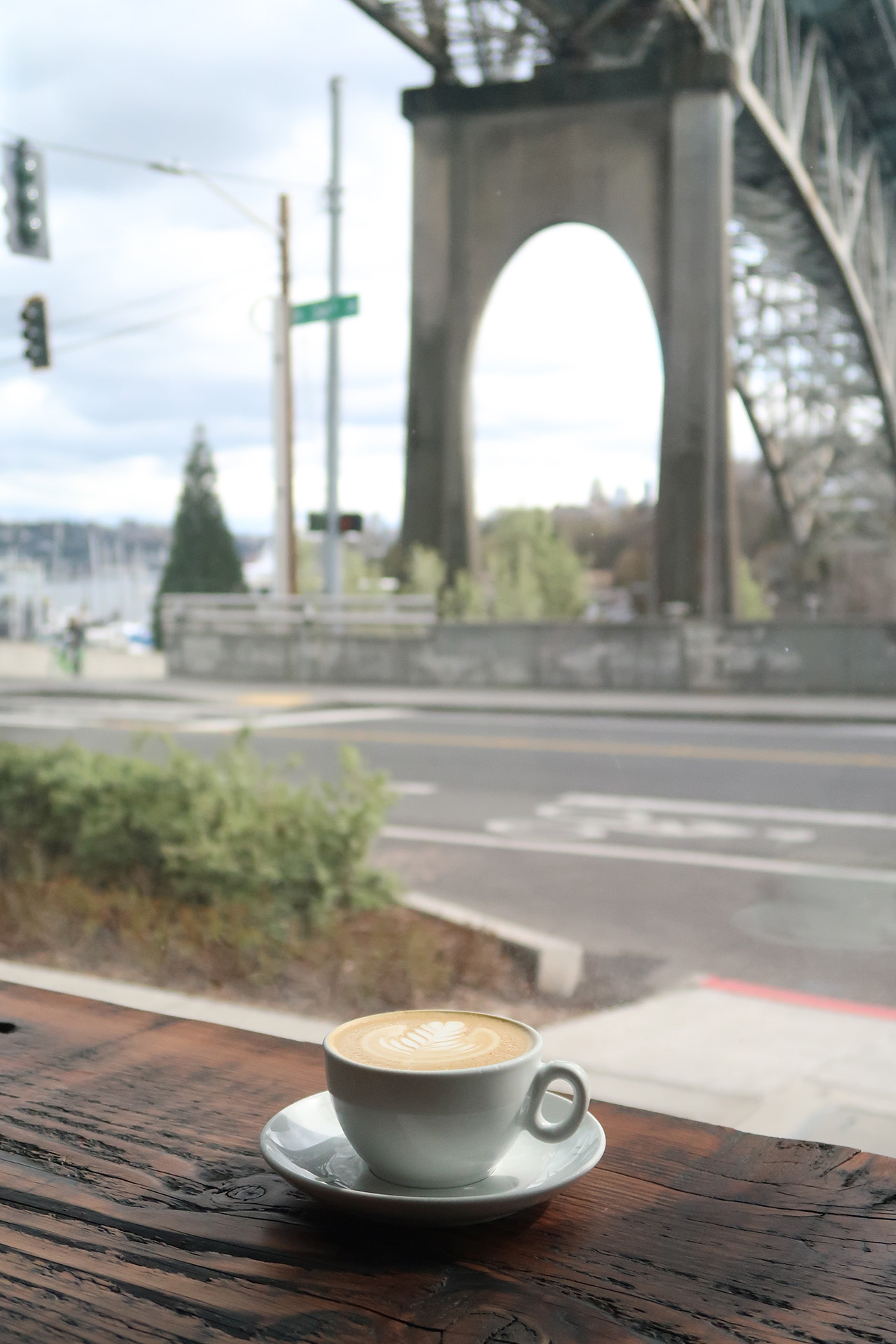 Picturesque view of the Aurora bridge at the window seat.