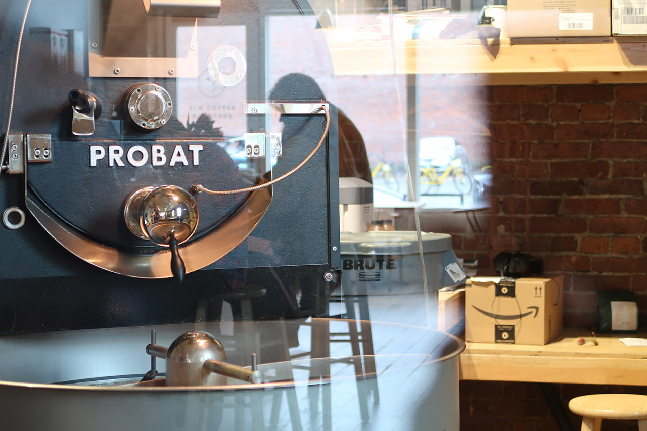 A Probat roasting drum at the back of the cafe.