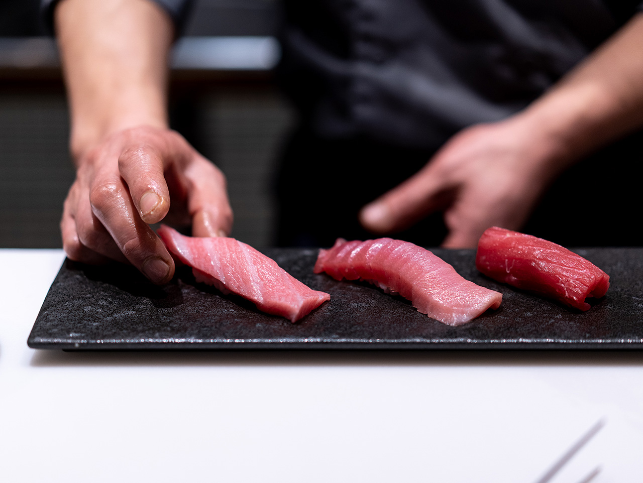 The Blue Fin Tuna Trio. Left to right - otoro, chutoro, akami.