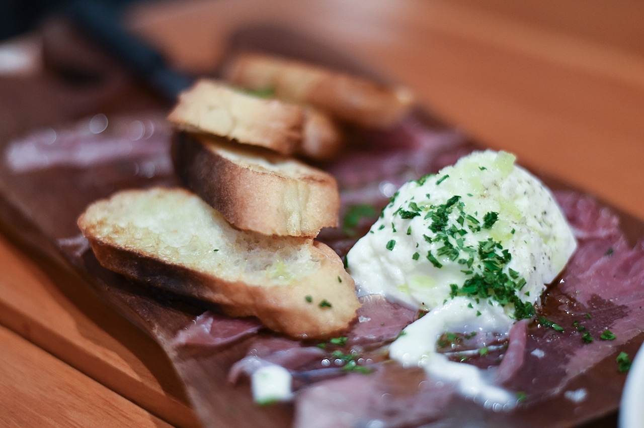 Mouth-watering Burrata cheese - the perfect starter.