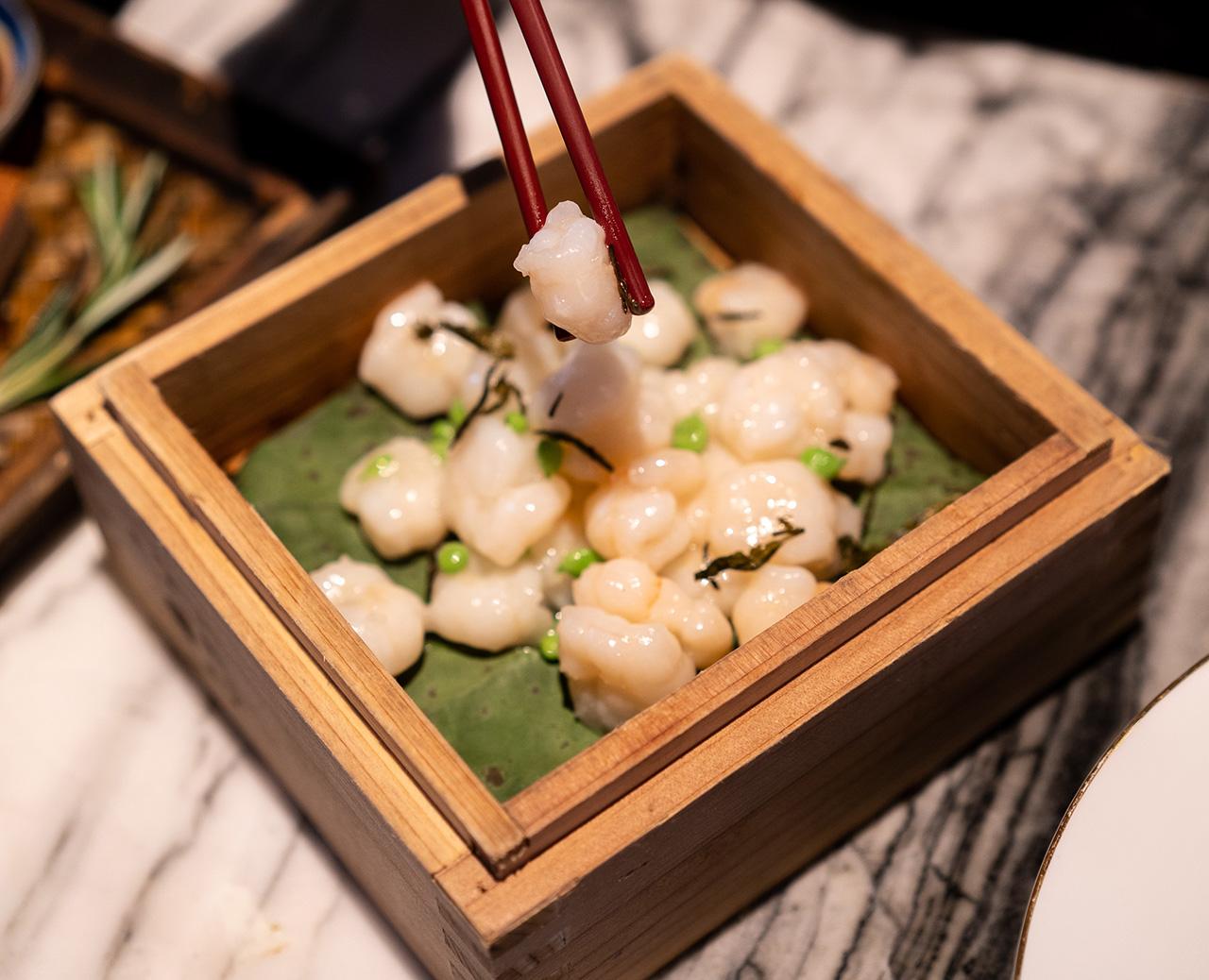 Dragon Well tea-smoked crystal river shrimp.