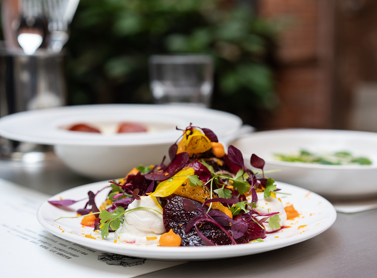 Grilled radicchio, baked beetroot, orange and whipped goat curd