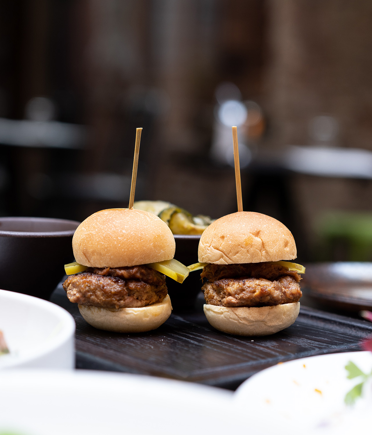 Bite sized Wagyu and foie gras burgers.