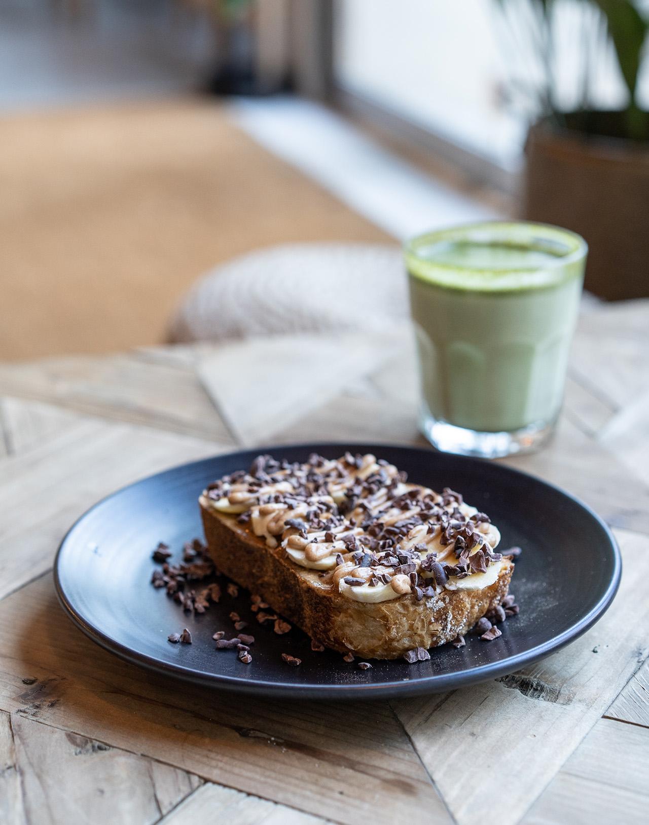 Vegan Almond and Banana Toast.