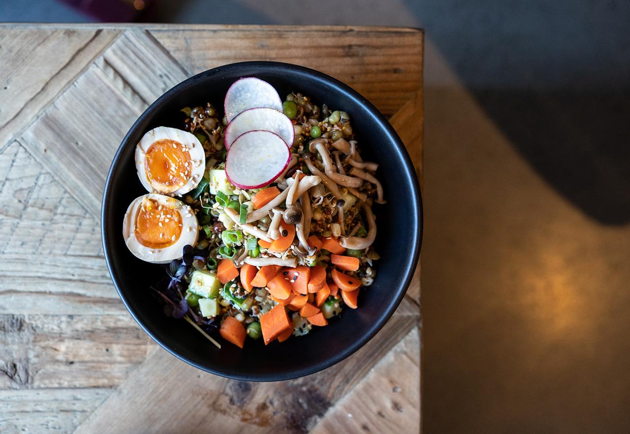 The mushroom: mushrooms, peas, wild rice, brown rice, black kale, pickled beets, pickled carrots, pumpkin seeds.