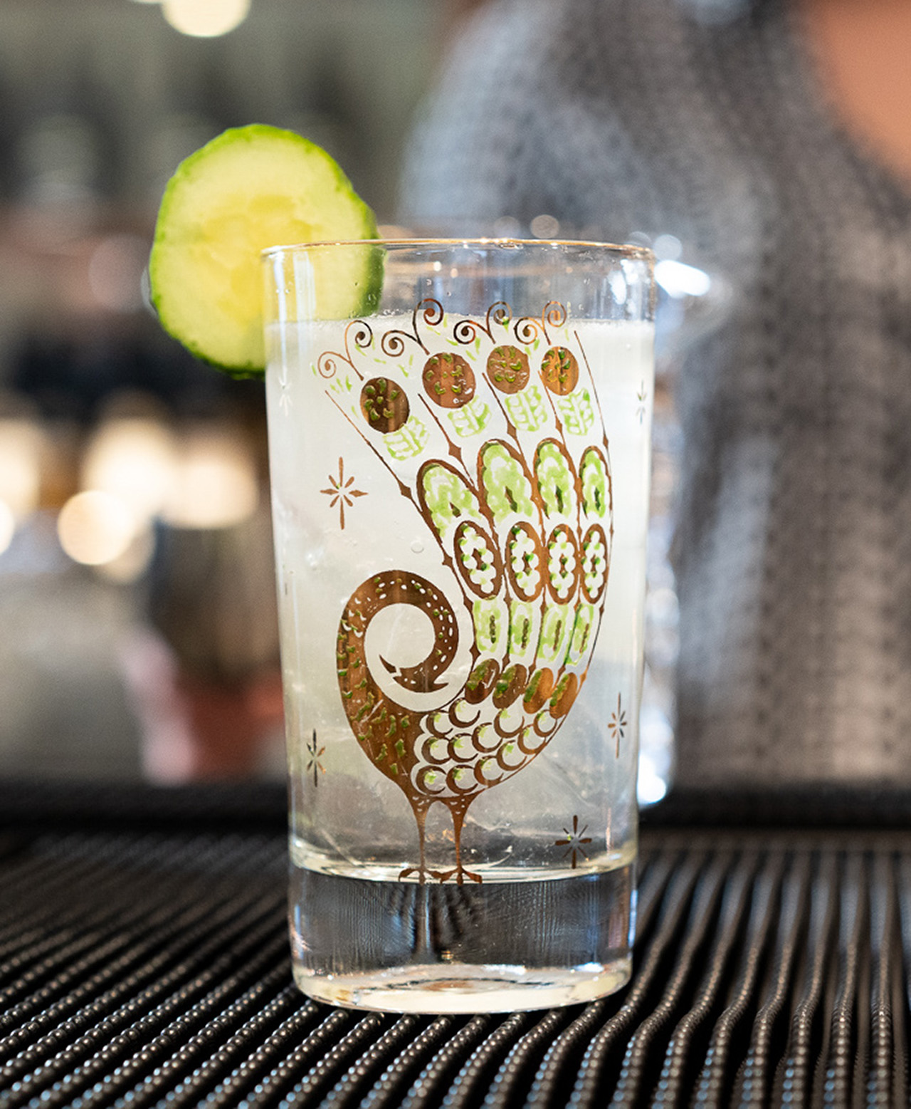 Chara Chamble. Kettle One Vodka, Muddled Cucumber, Ginger of the Indies Ginger Beer, Pink Pepper Bitters.