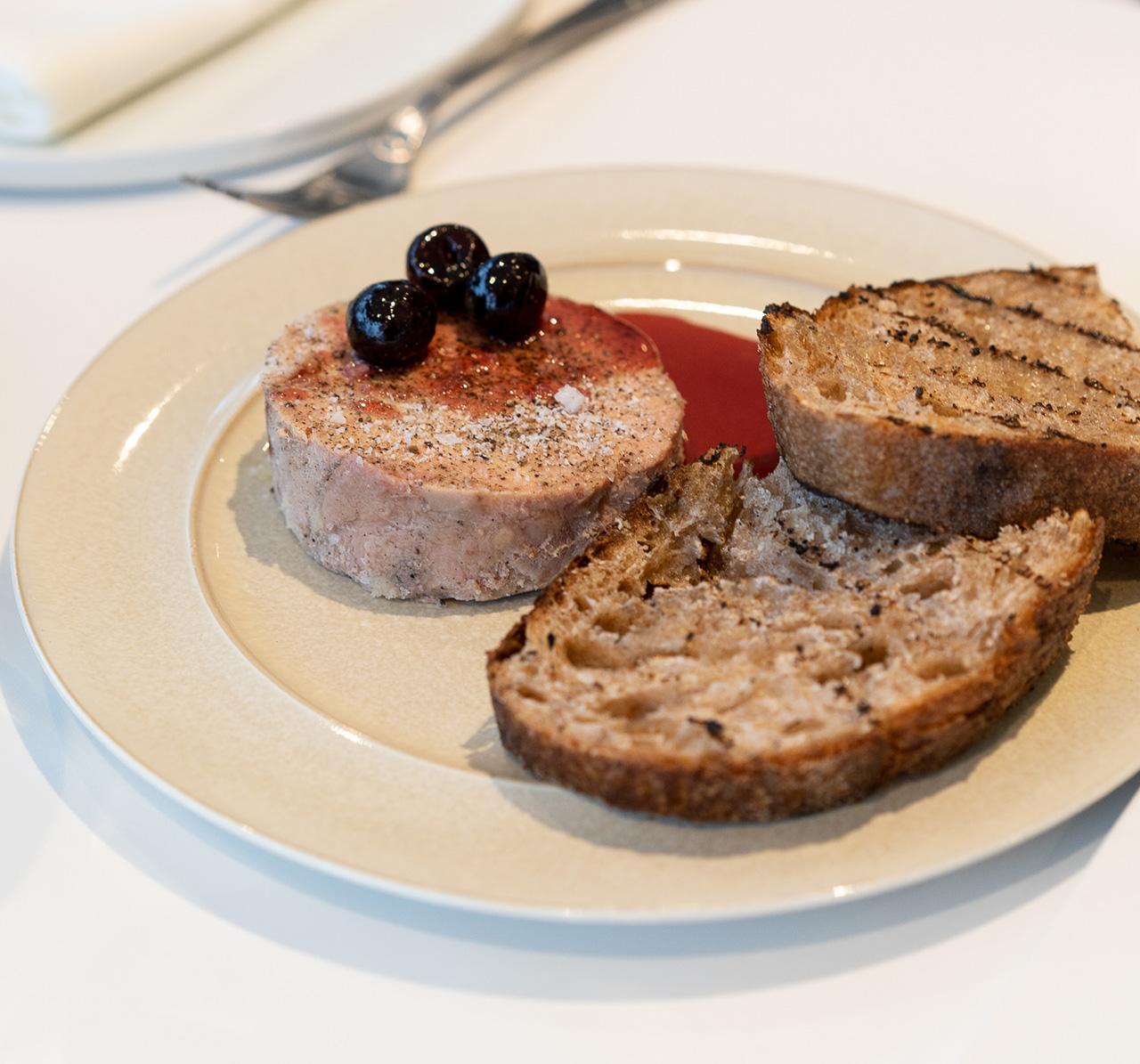 Foie gras torchon, cherry, sourdough.
