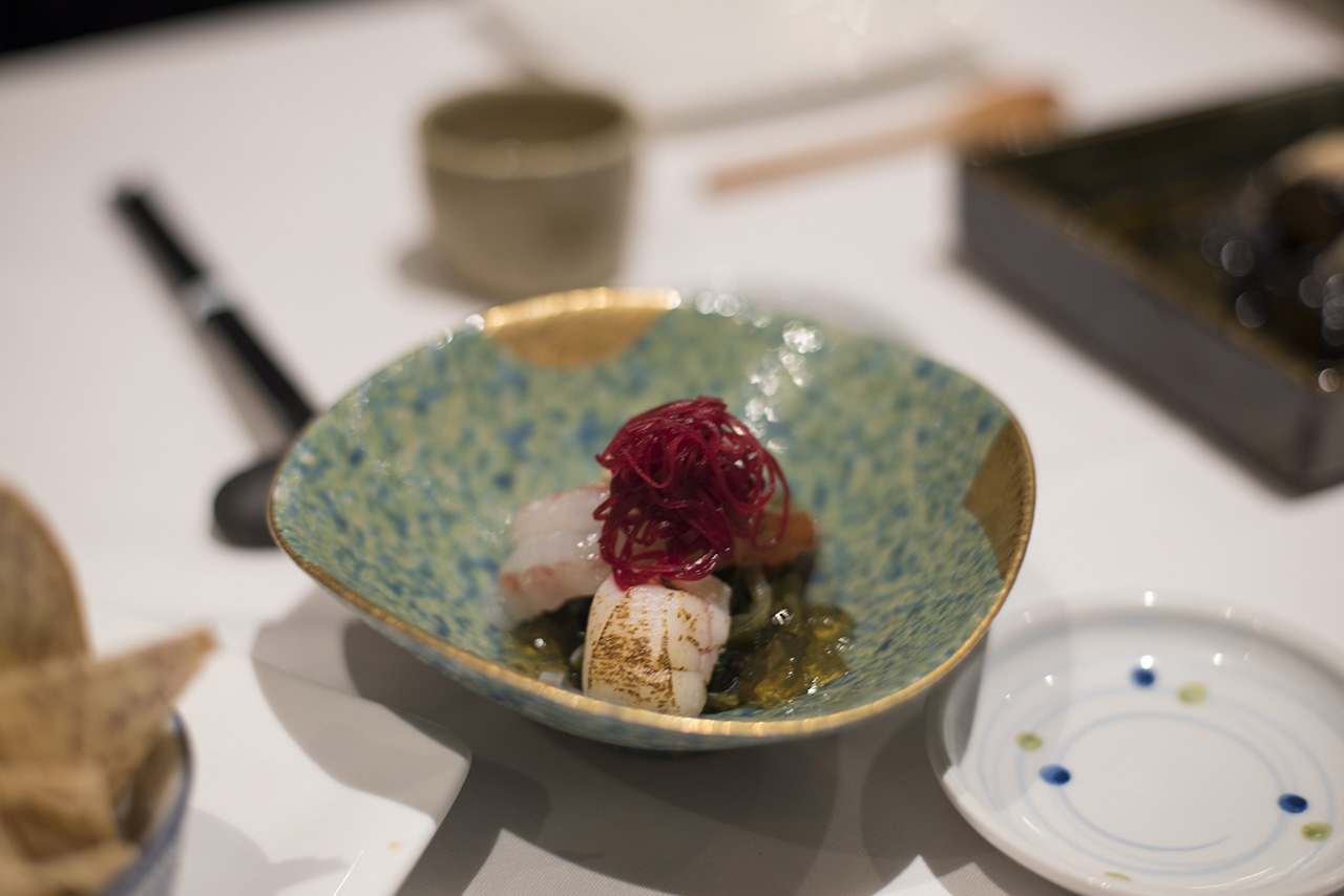 Hokkaido Hotate & Botan Ebi Sunomono - Hokkaido scallops, spot prawn, wakame, seaweed salad & beets in a Tosazu vinegar dashi stock.