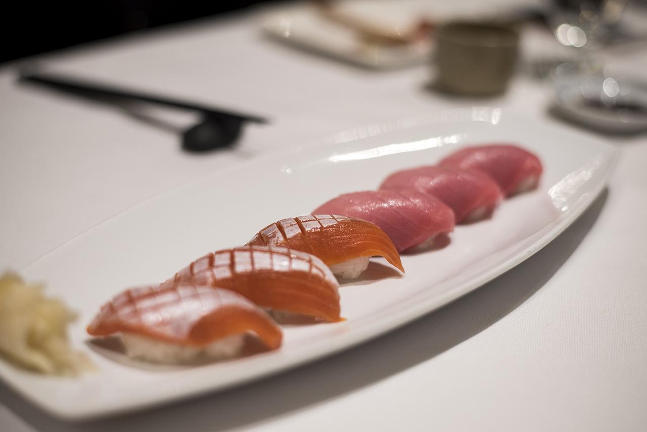 Salmon Toro and Chu-Toro Nigiri.