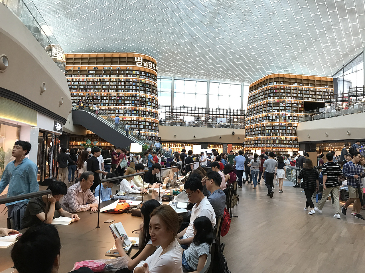 Over 50,000 titles line the walls of this stunning gathering space.