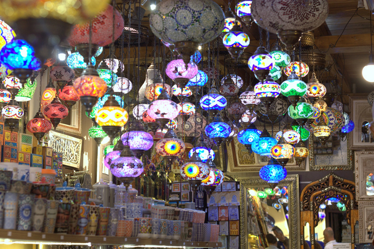 A small lighting store in the historic district near the Alhambra, a palace and fortress complex located in Granada, Andalusia, Spain.