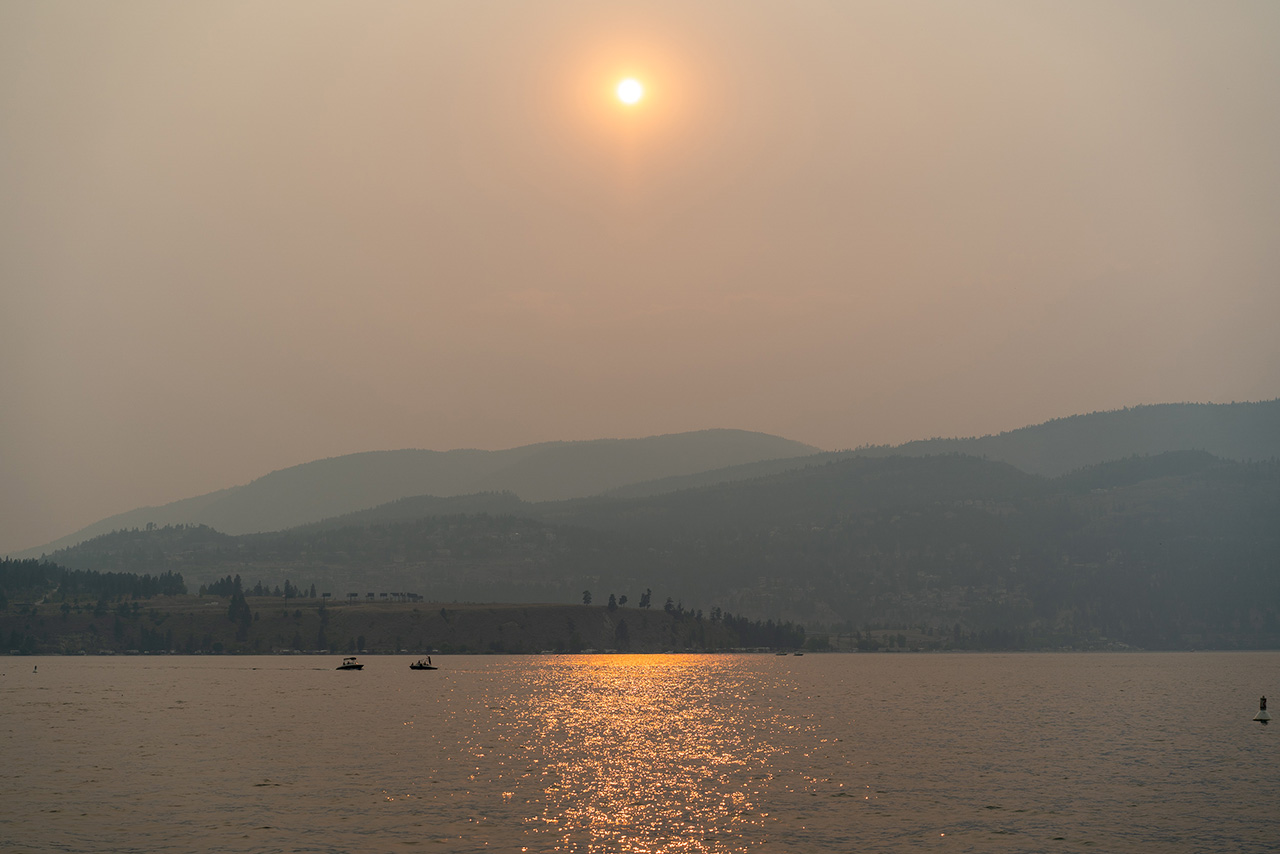 The view from the Kelowna City Park at sunset.