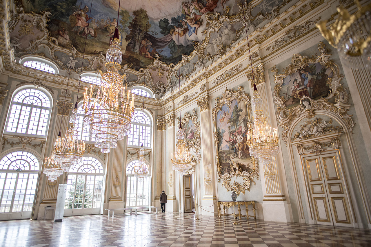 The jaw-dropping over height ceilings and elaborate detailing in Nymphenburg Palace.
