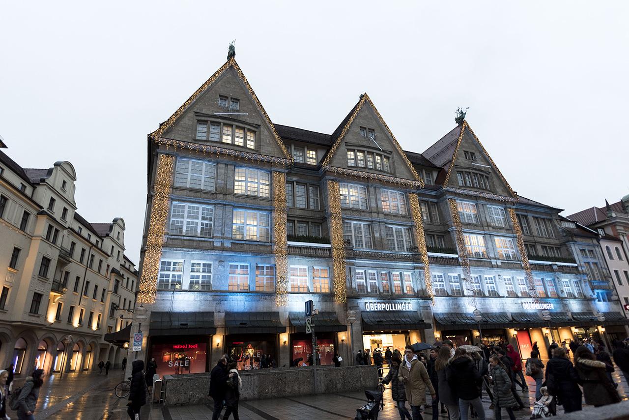 Illuminated buildings maintain the festive vibe in the city past the holiday season.