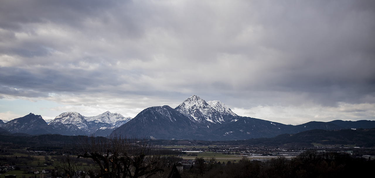 Majestic mountains as seen from the Hohensalzburg Castle.