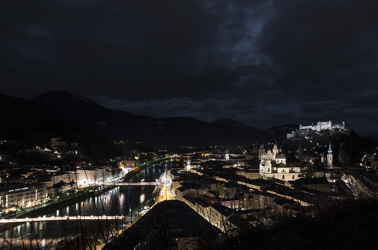 Stunning night view of Salzburg.