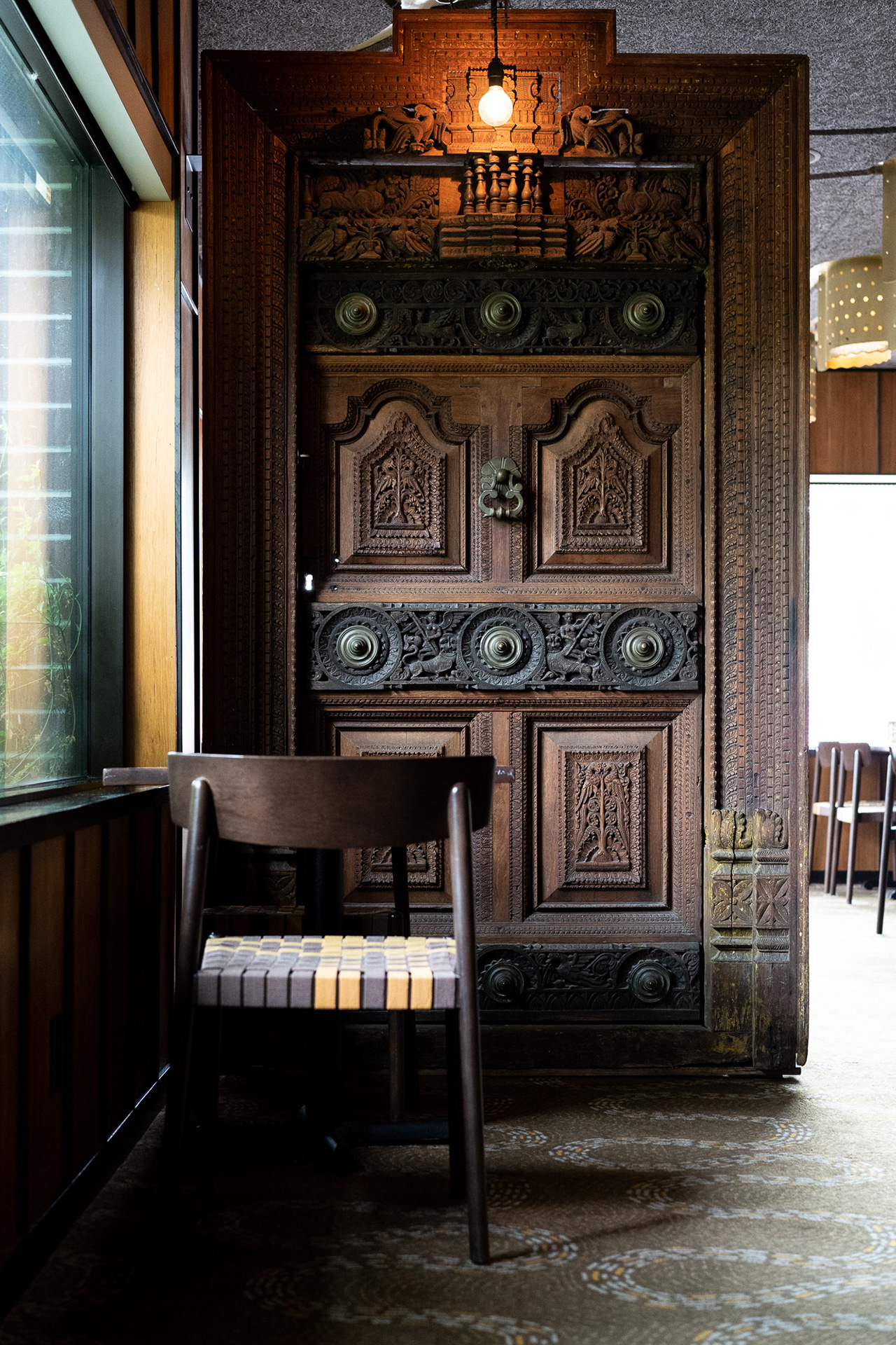 A characteristic door showcased in the dining room.