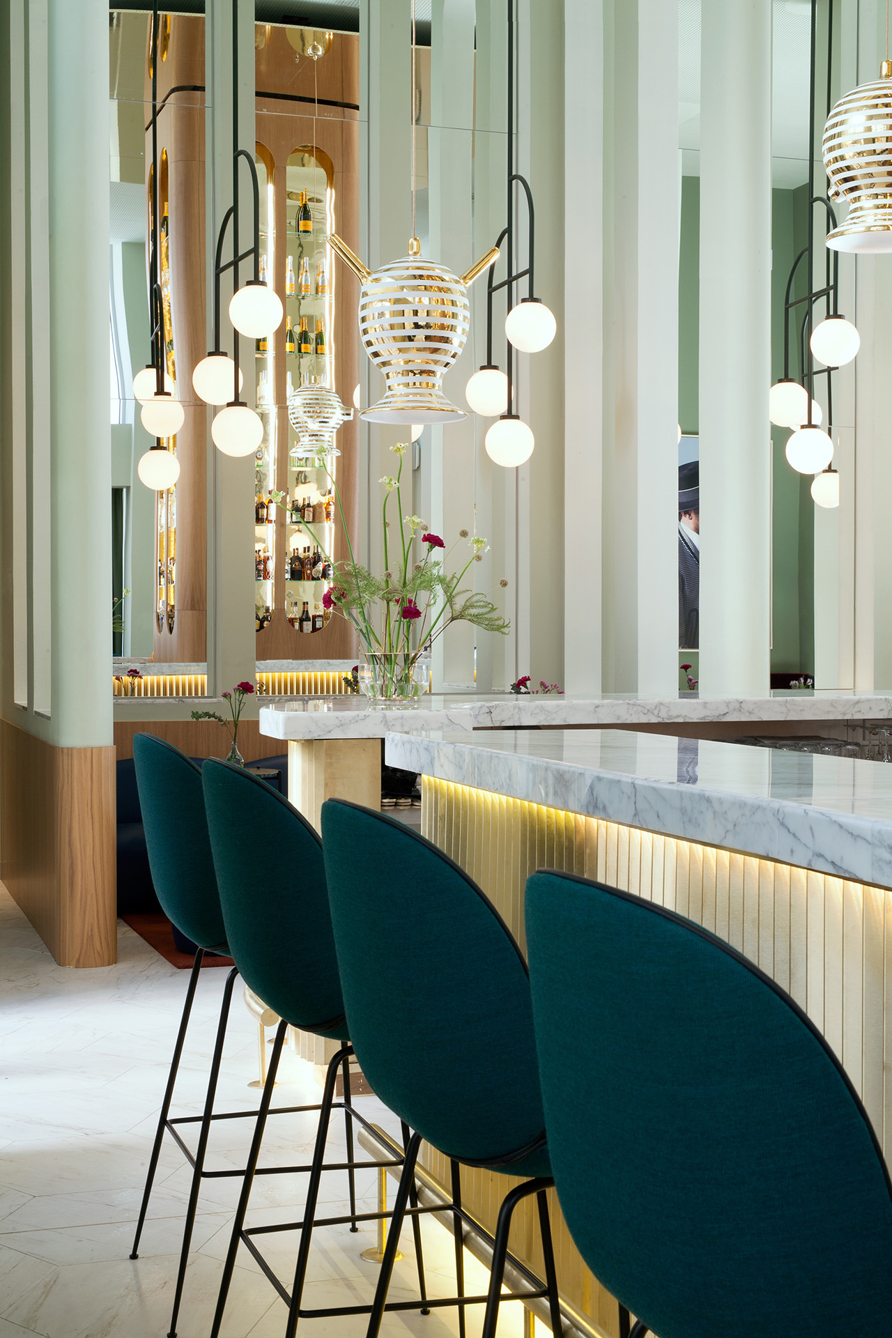 Garra Lobby Bar: Custom made ceramic lamps and structural lamps designed by Jaime Hayon specially for Hotel Barceló Torre de Madrid. Beetle stool by Gubi.