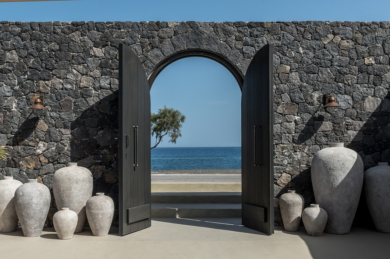 Looking out to the deep blue Aegean Sea from Istoria Hotel's entrance.