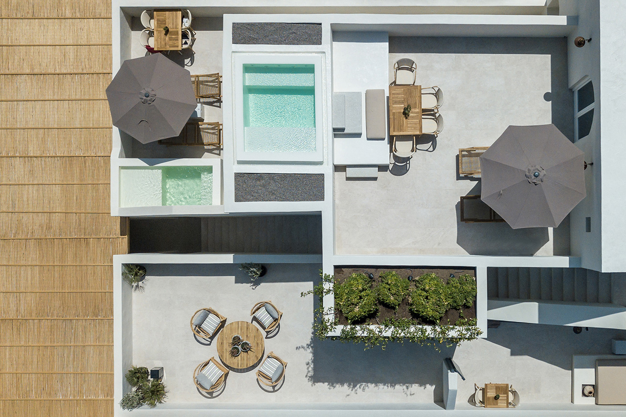 Bird's eye view of the private verandas of guest suites.