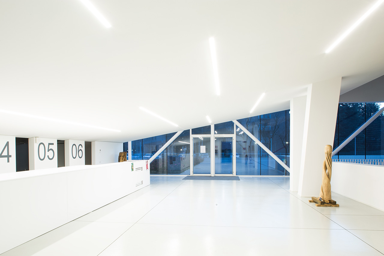 The sloped ceiling gives the entry a distinct look and feel.