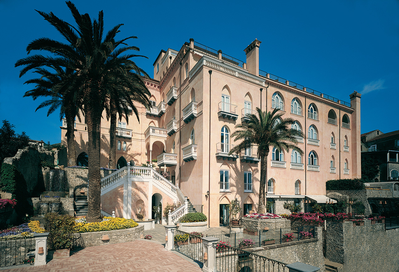 The hotel exterior hints at the property's history as home to a noble family.
