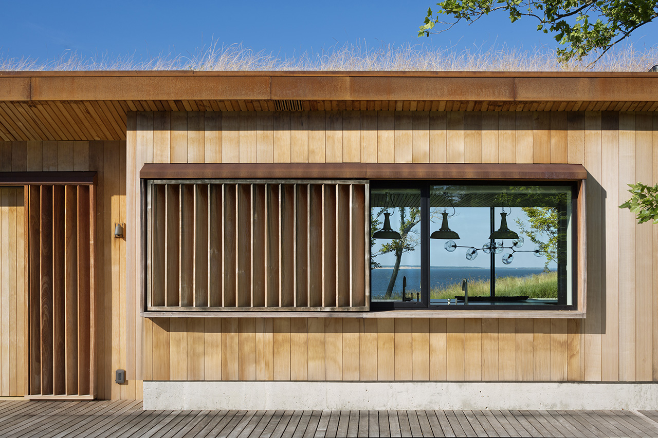 Wood-clad design throughout the interior and exterior of the house.