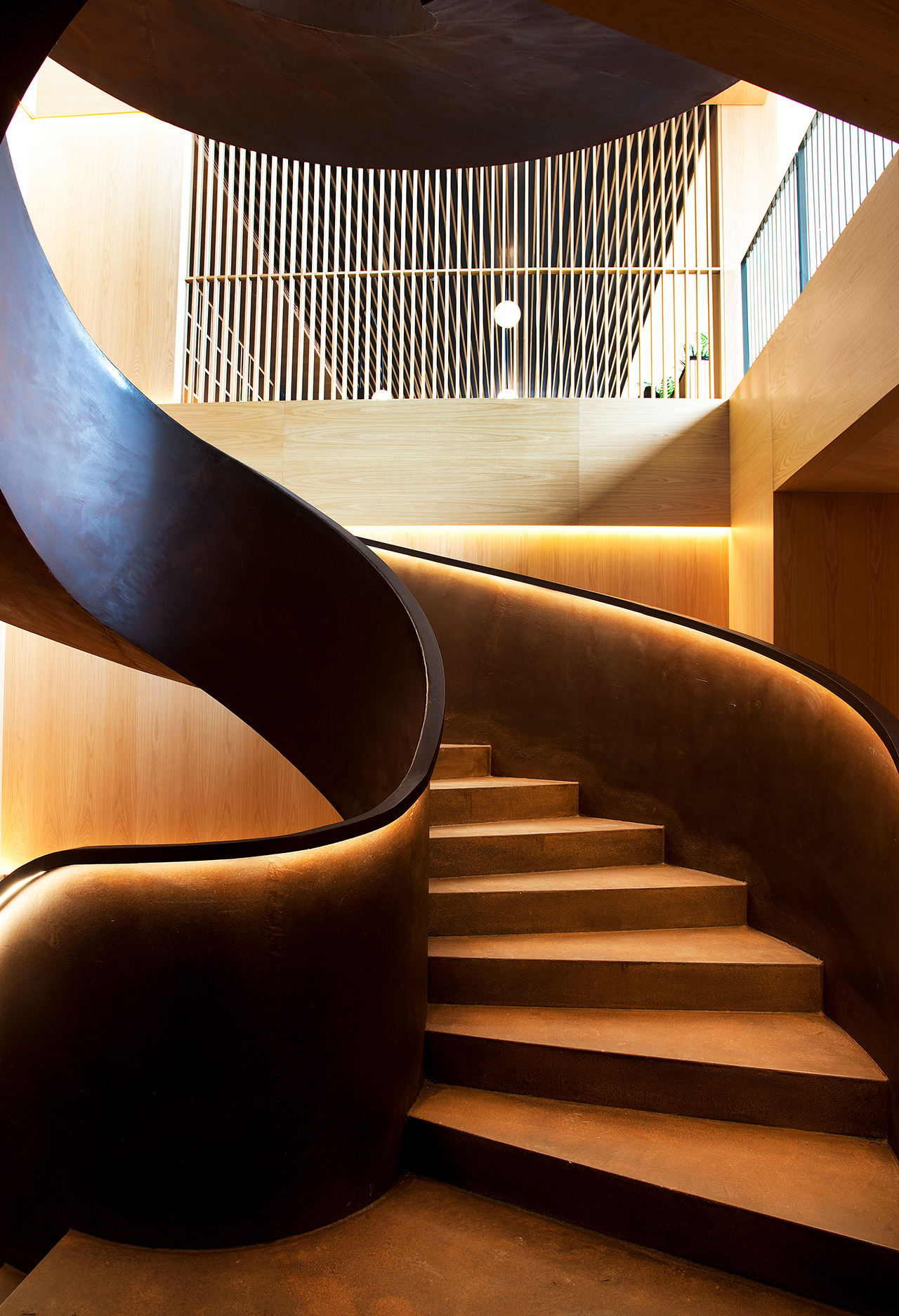 Centrepiece design of the hotel - the spiral staircase.