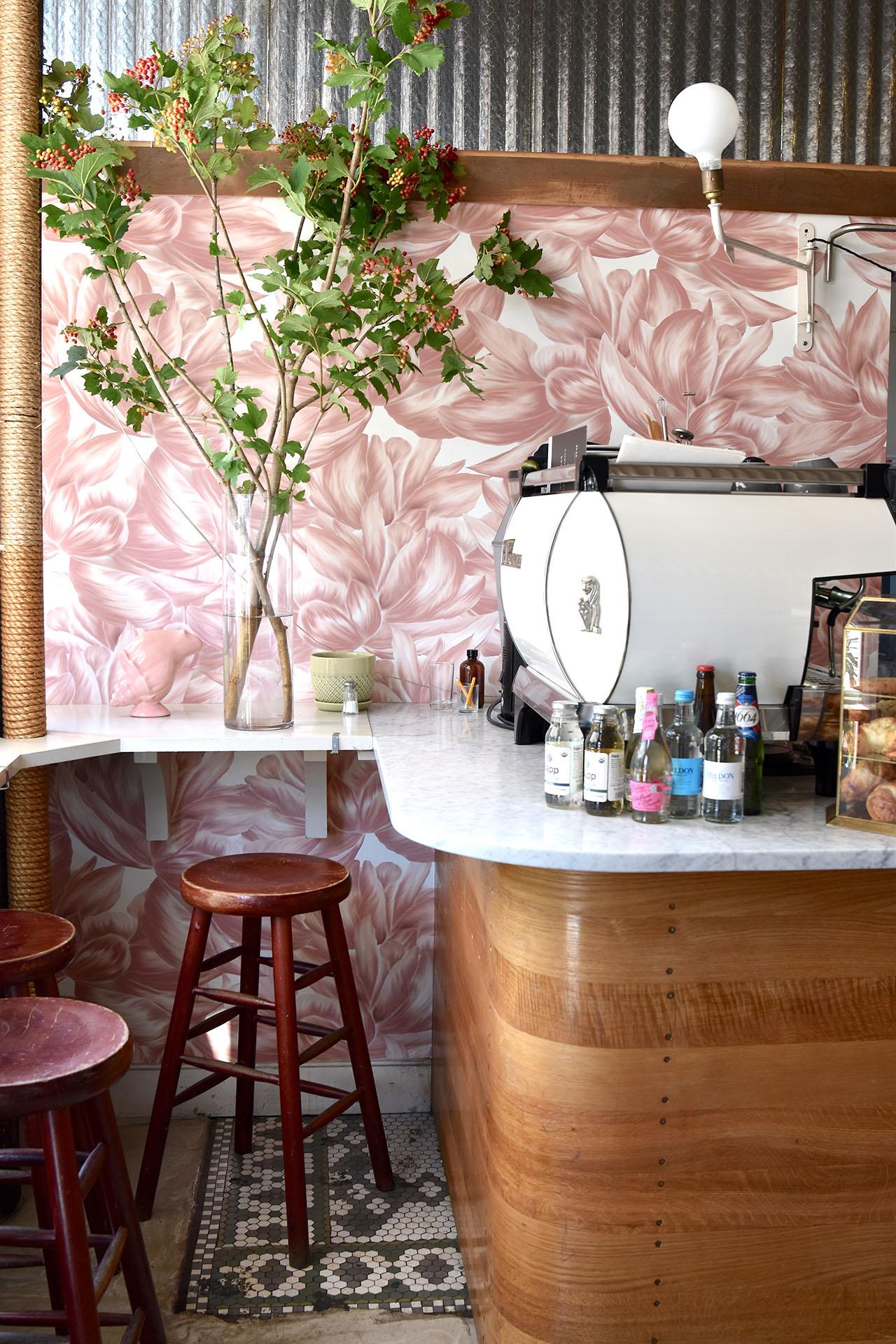 Bespoke wallpaper design for Sel Rrose Cafe in New York.