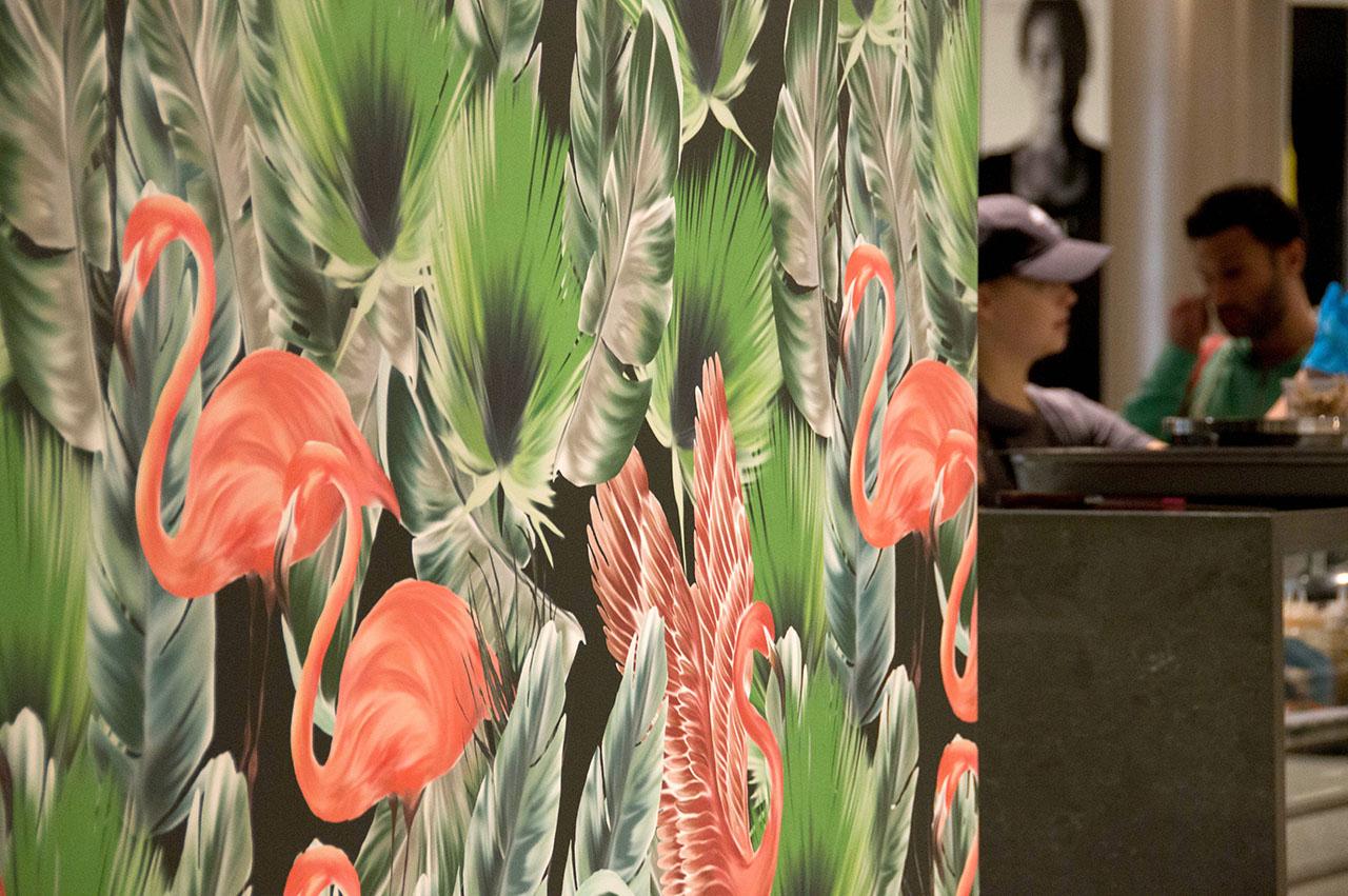 Flamingo and Palm Leaves for Palm Lane, Toronto.