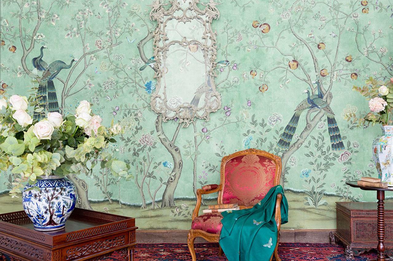 'St. Laurent' Design in standard design colours on custom turquoise edo tea paper/ Photography by Mariam Medvedeva