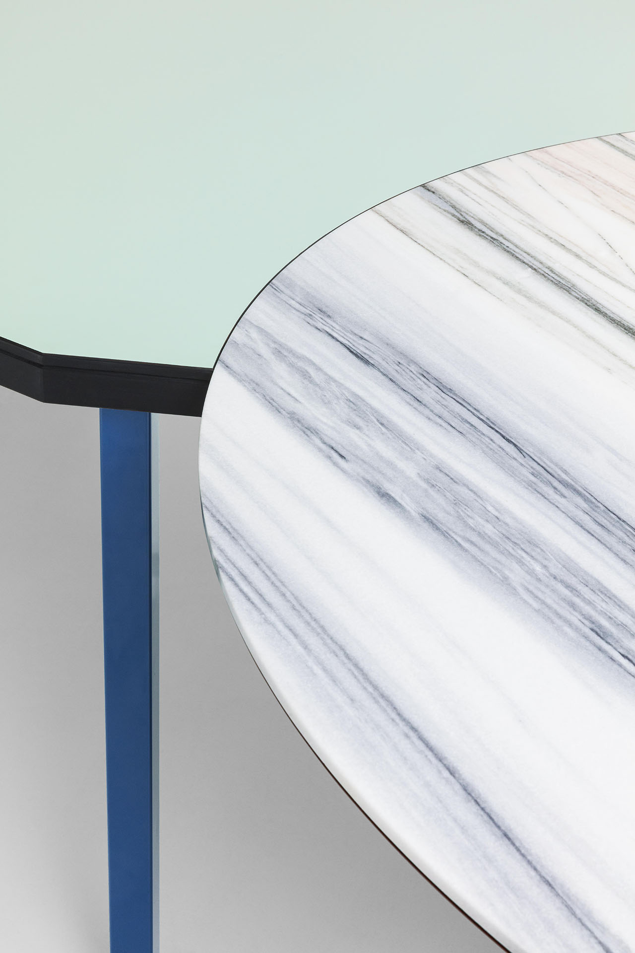 The Duale Table made with Bianco Lasa marble.