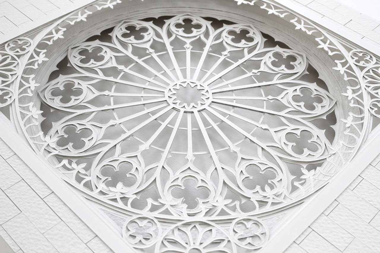 A detail shot of the 'Rose' window design.