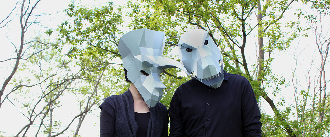 JUDiTH+ROLFE in playful 'Dino Masks'.