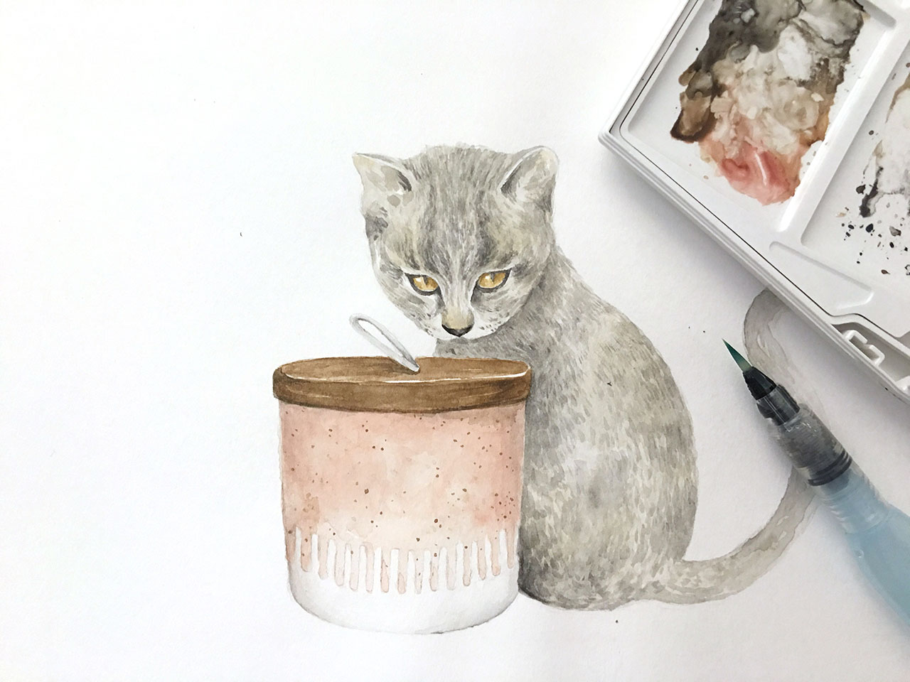 First practice painting of the day — a kitten with a ceramic pot