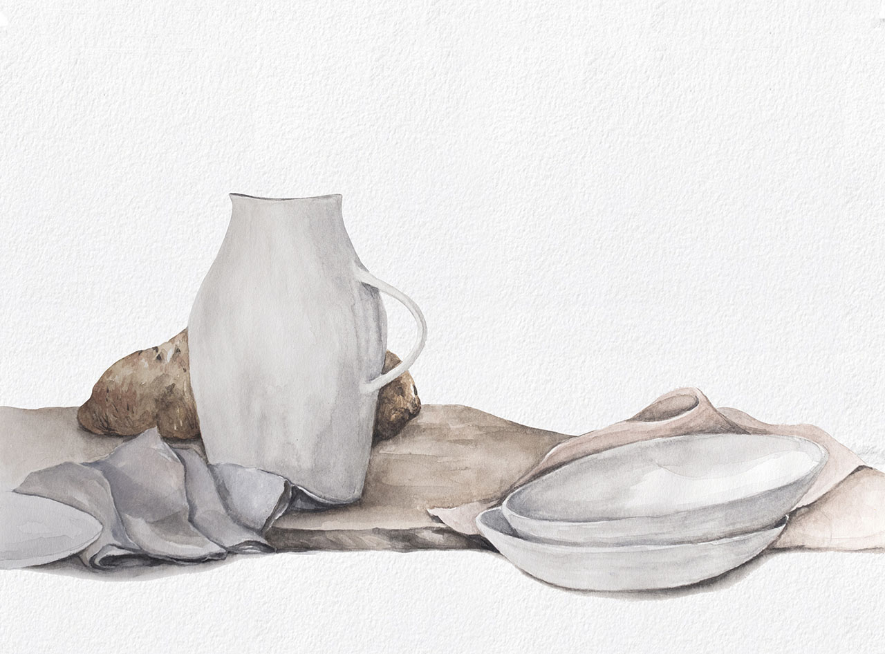 Still life practice with neutral shades.      Below: Painting process of a flower vase. By squeezing out water from the brush's reservoir, you can create washes and blend colours together.