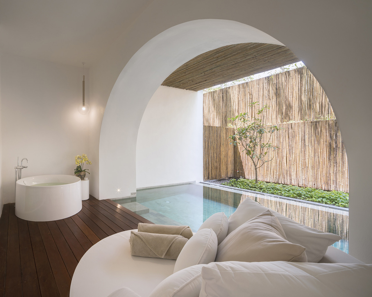 The garden pool suite provides more privacy with an enclosed private pool.