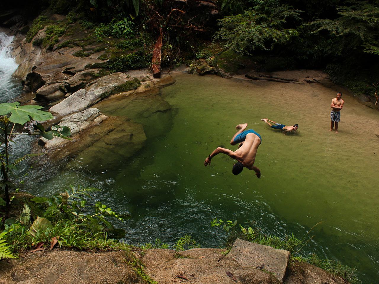 Backflip into the Blue Lagoon. Tena, Ecuador.