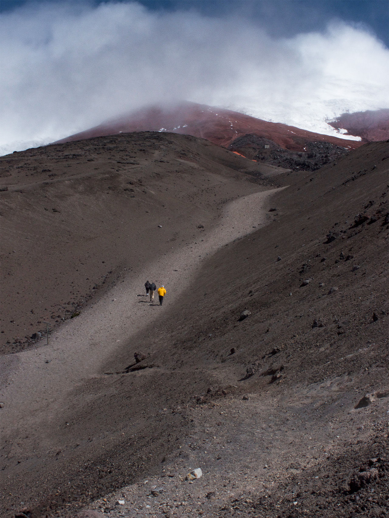 Ascending to the second shelter located at 4,864 meters above sea level. Cotopaxi, Ecuador.
