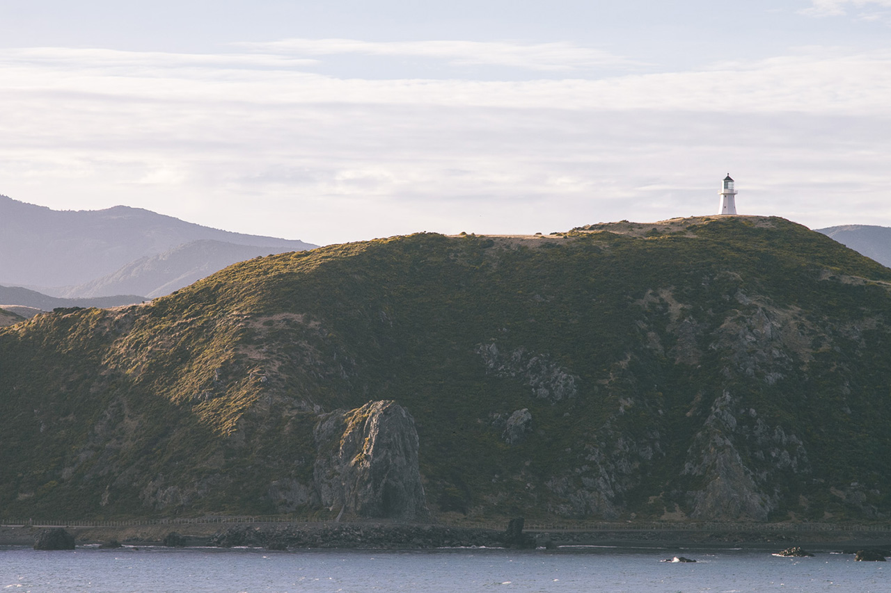 A lonely lighthouse on the coastal hills